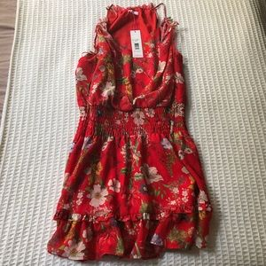 NWT Parker Serenity Floral Dress Red Sangria Large
